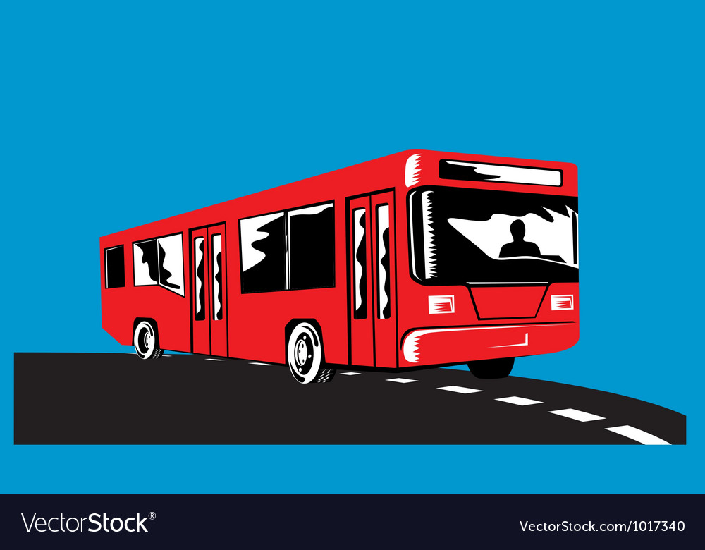 Coach bus shuttle retro vector