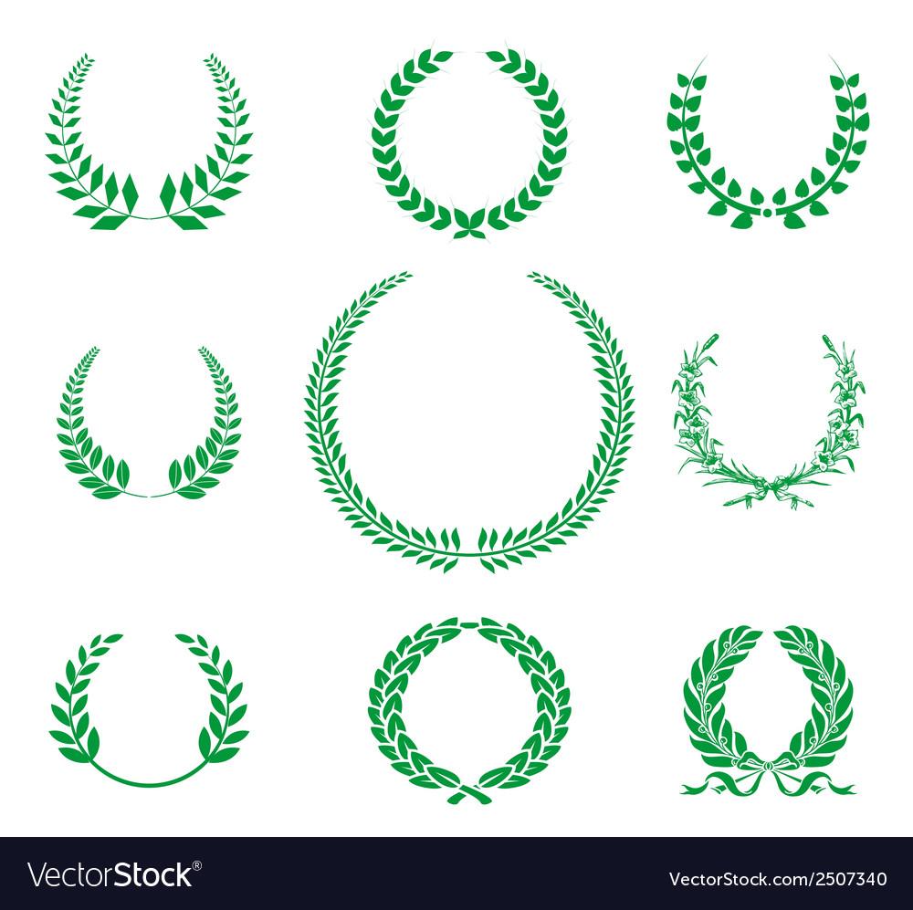 Greenlaurel wreaths collection vector