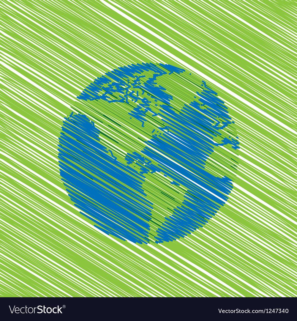 Hand drawn globe eco doodles vector