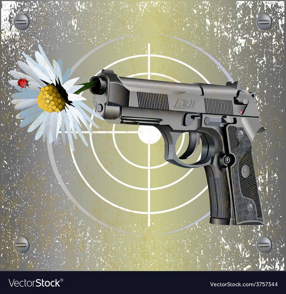 Handgun beretta elite with camomile vector