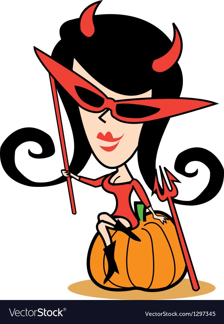 Girl in halloween costume vector