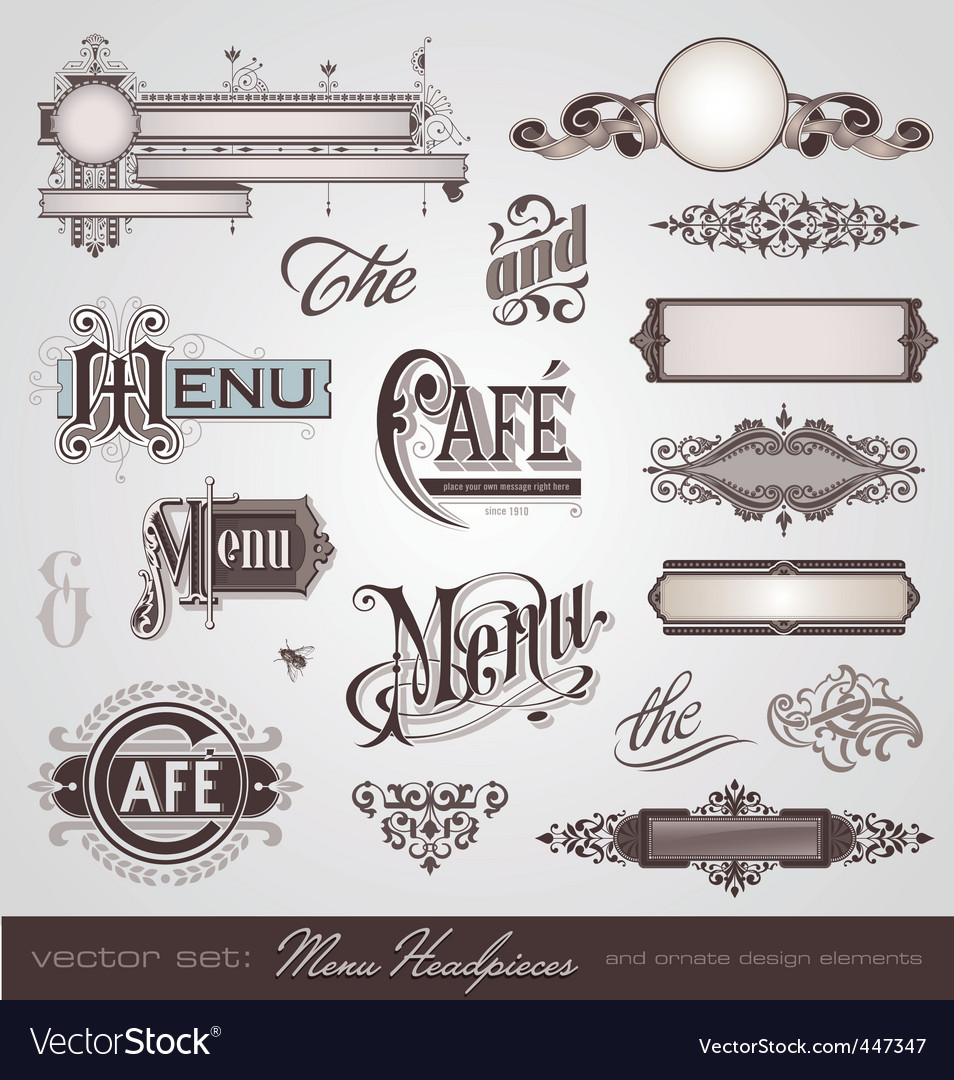 set menu headpieces vector