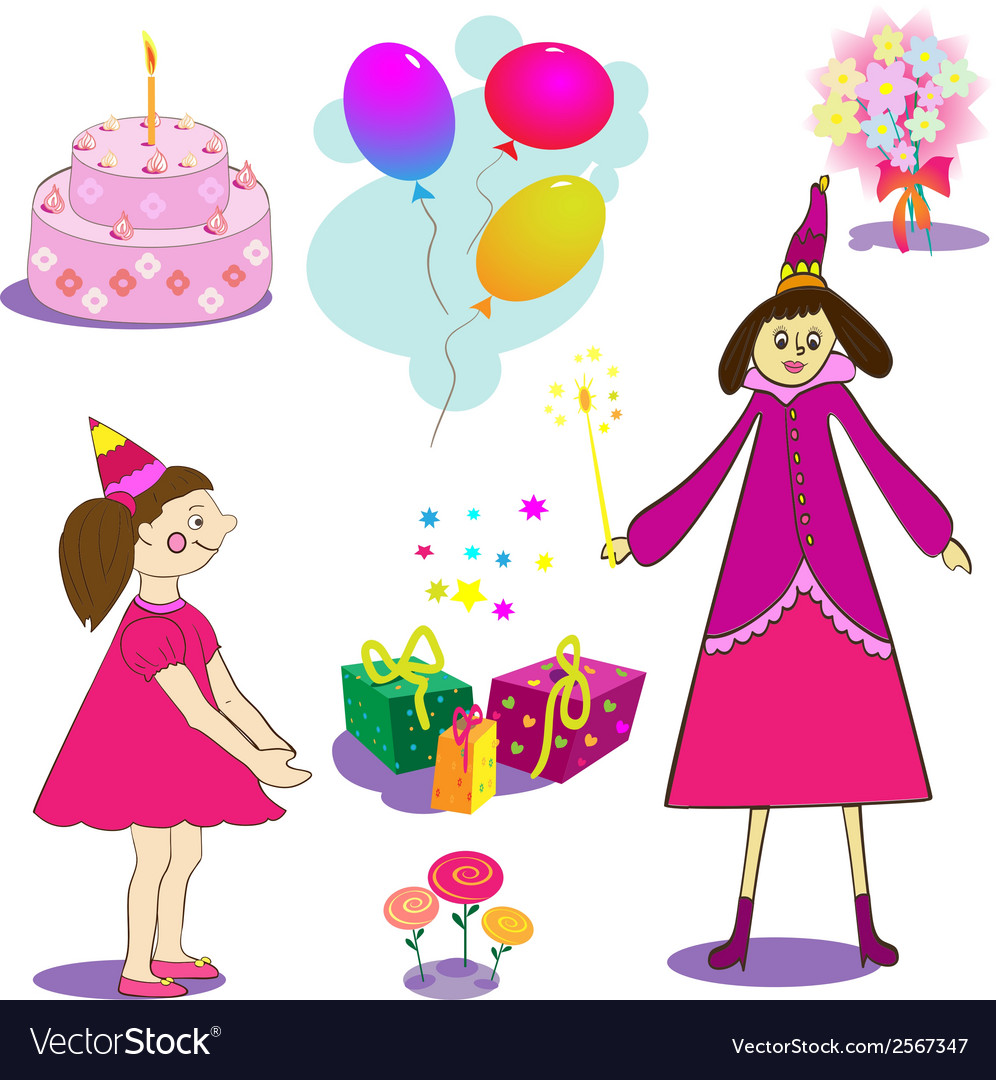 Set of birthday object of gifts cake and baloons vector