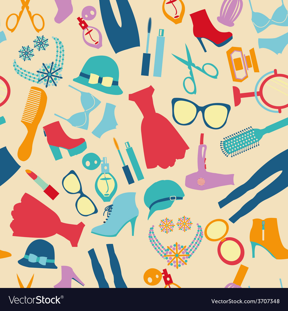 Seamless pattern fashion and clothes accessories vector