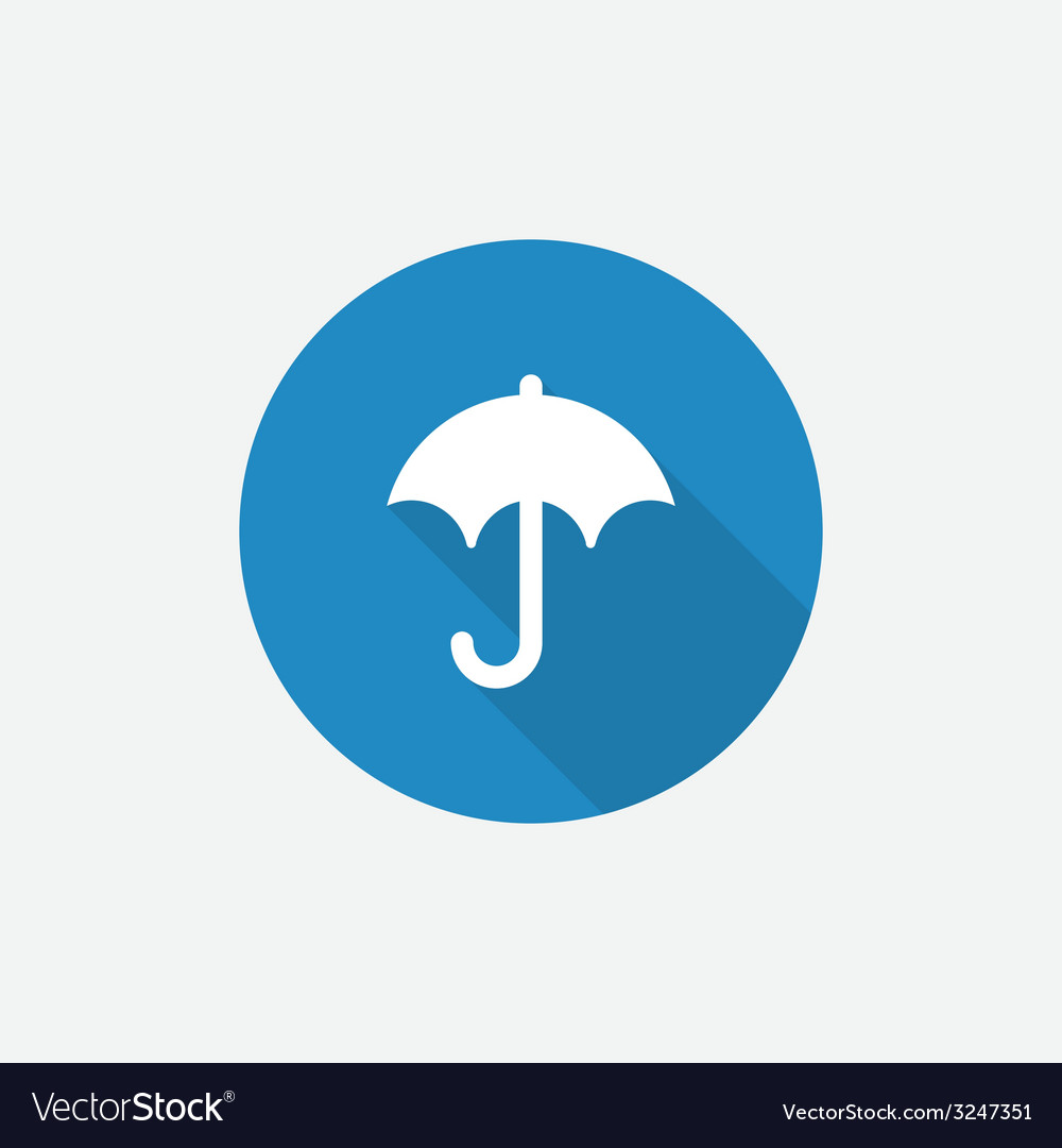 Umbrella flat blue simple icon with long shadow vector