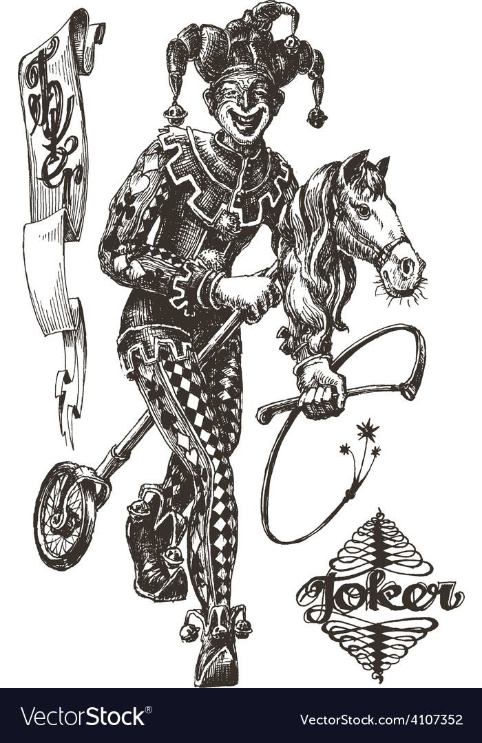 Cheerful joker logo design template circus vector