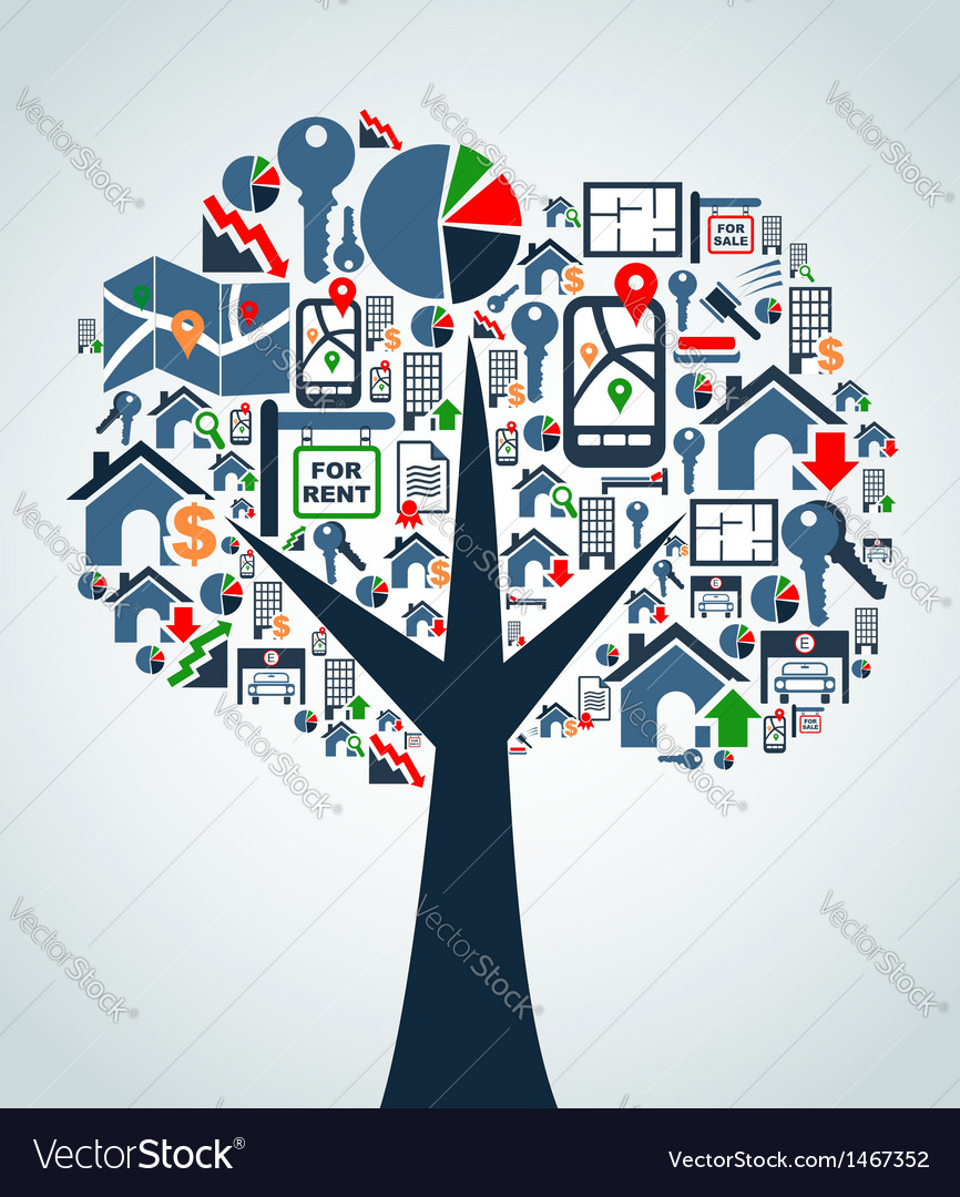 Property service icons tree vector