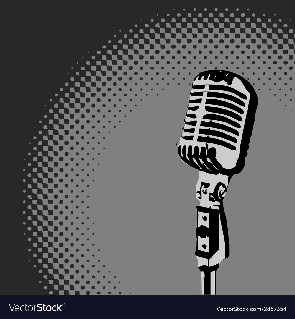 Retro microphone spotlight vector