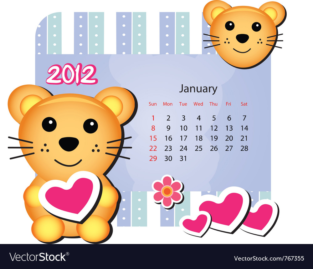 Mice animal calendar vector