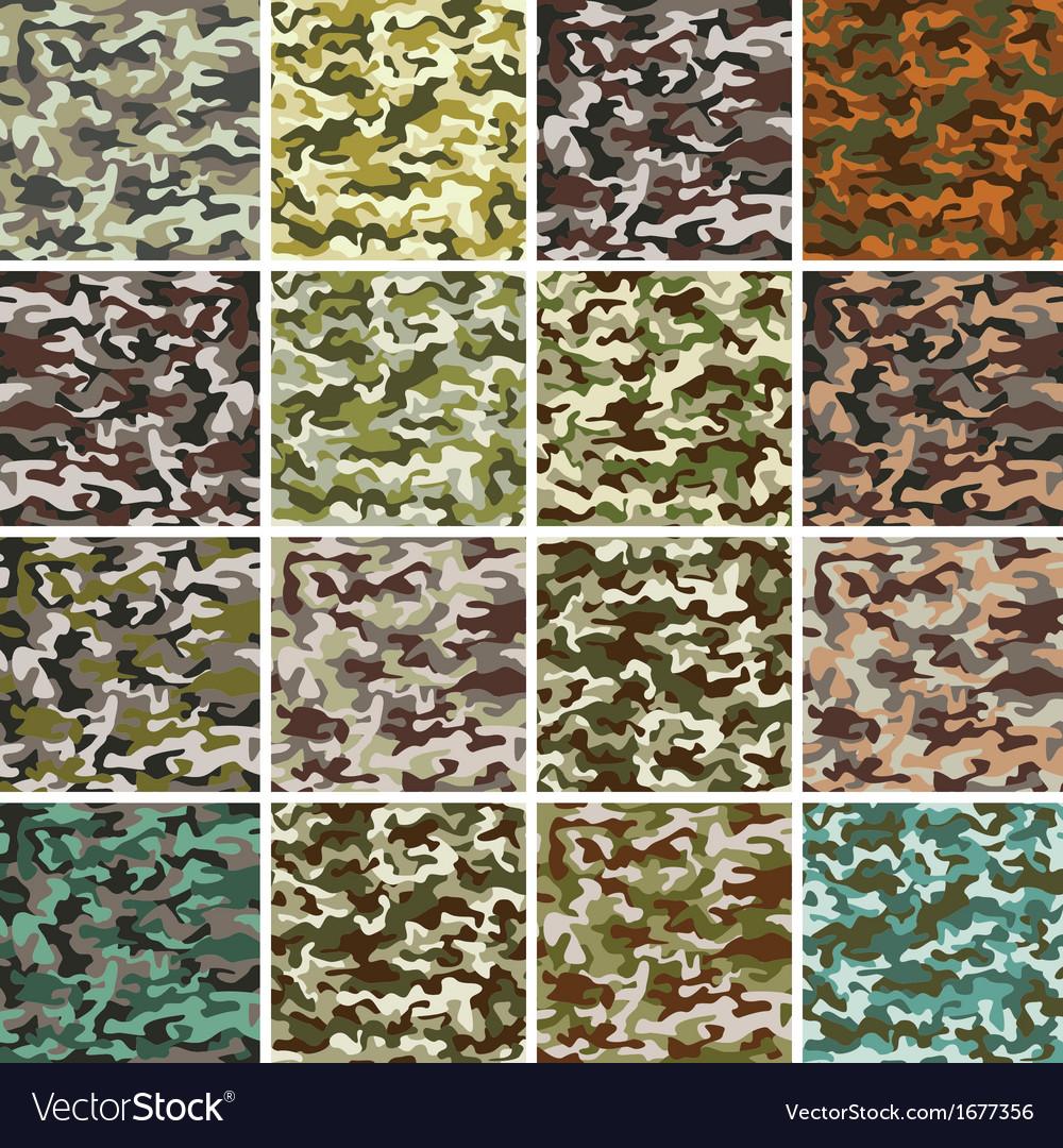 Mega set of seamless camouflage pattern vector