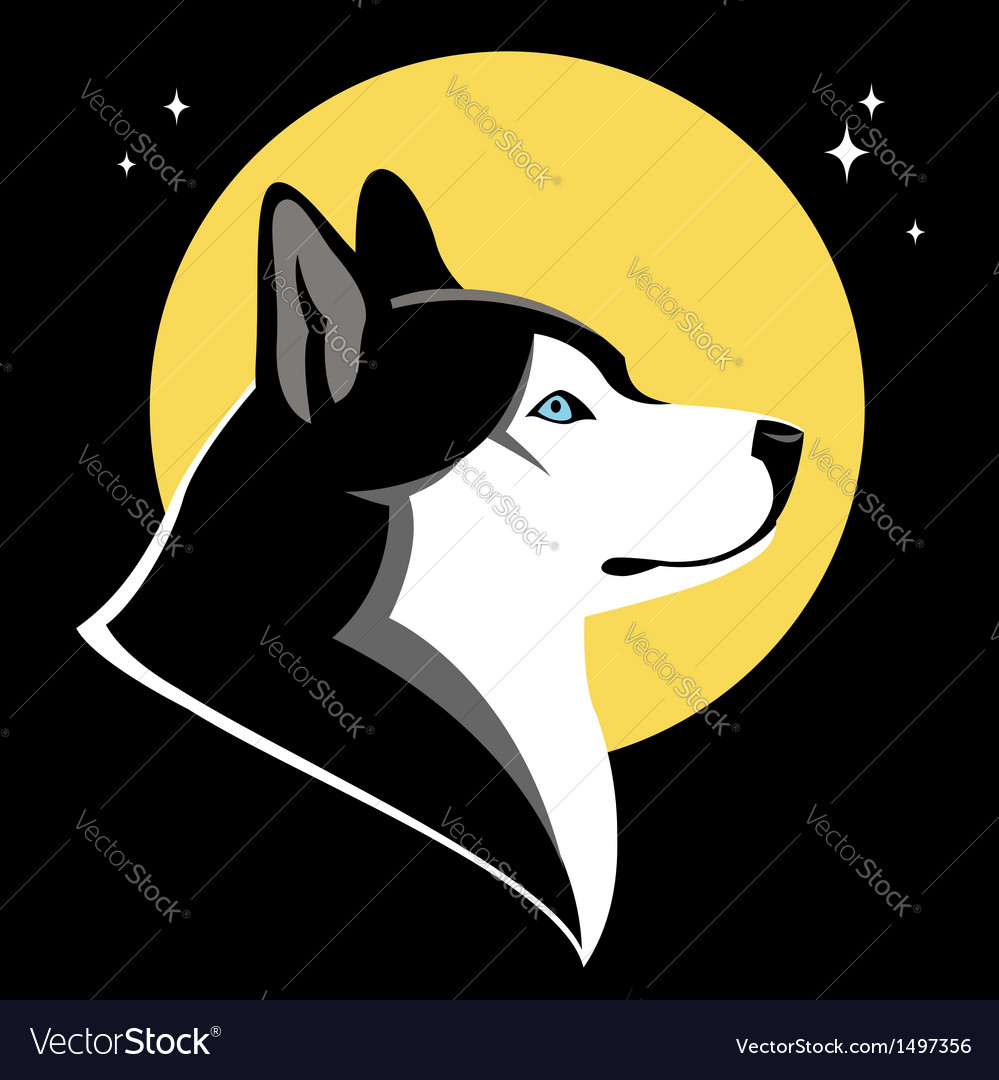 Moon and husky vector