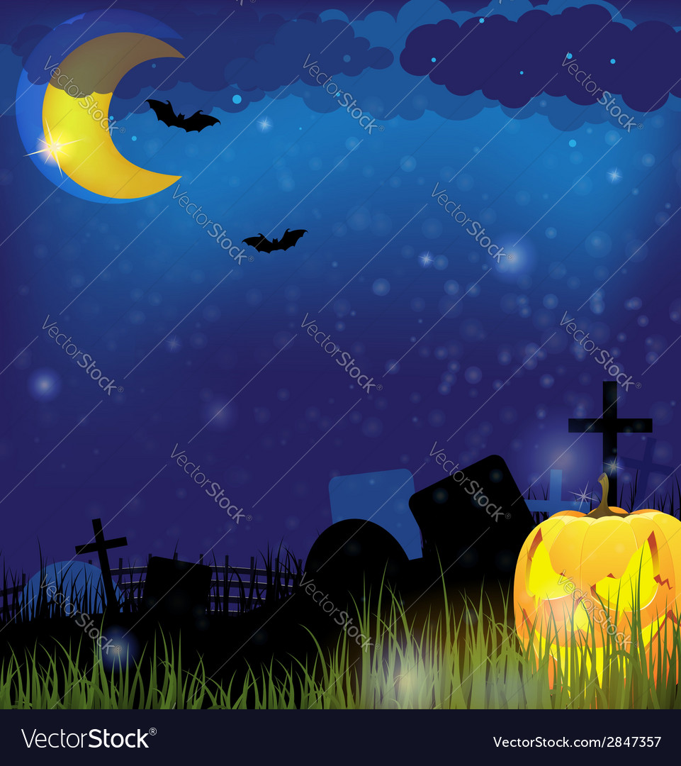 Jack o lantern on a night cemetery vector