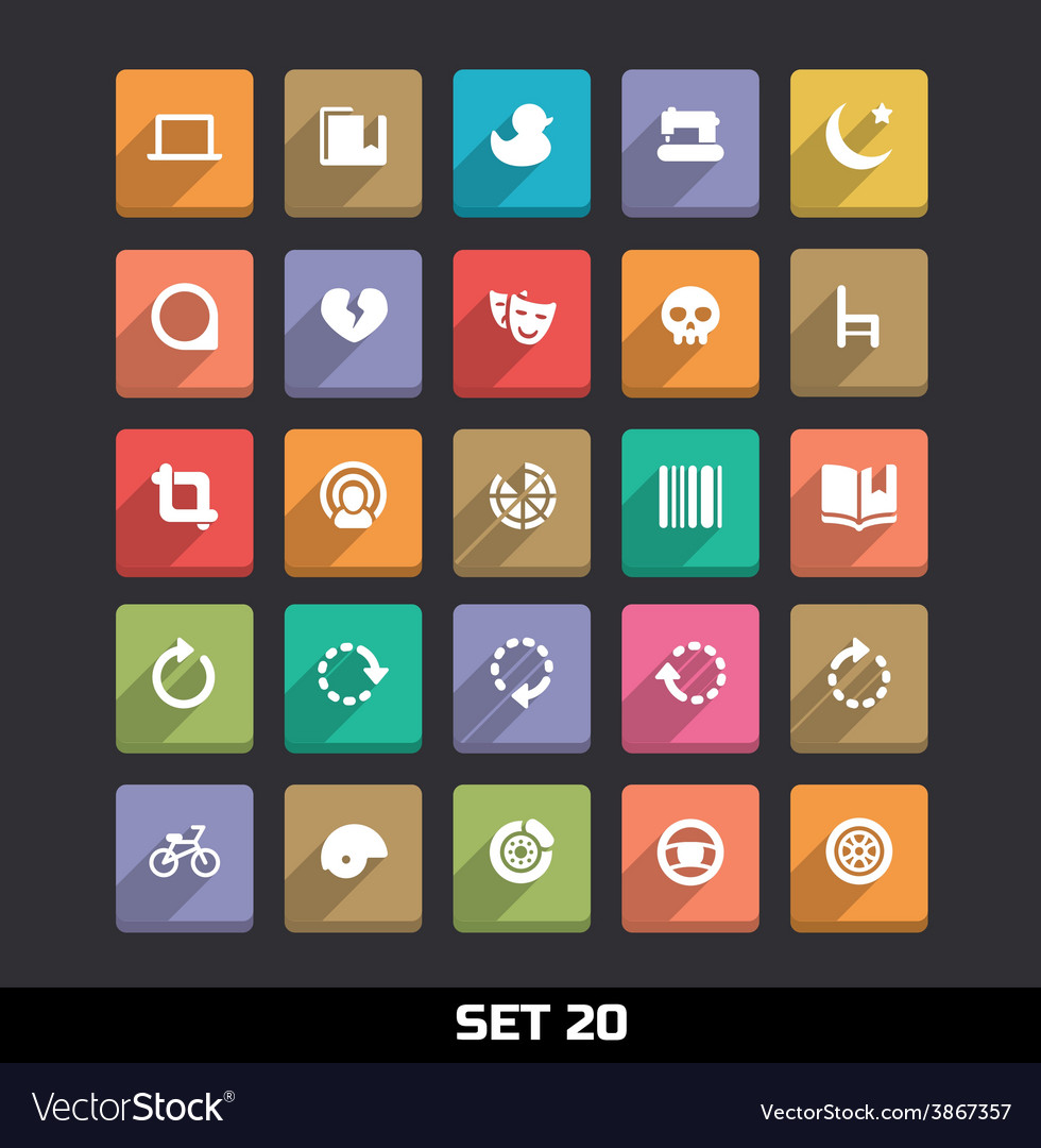 Trendy icons with long shadow set 20 vector