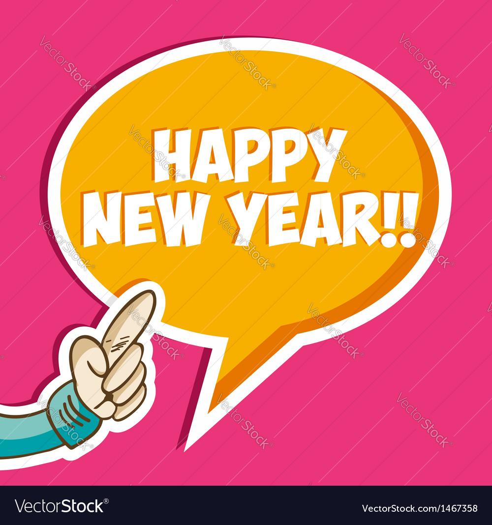Happy new year sticker bubble vector