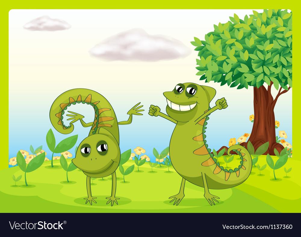 Two chameleons in nature vector