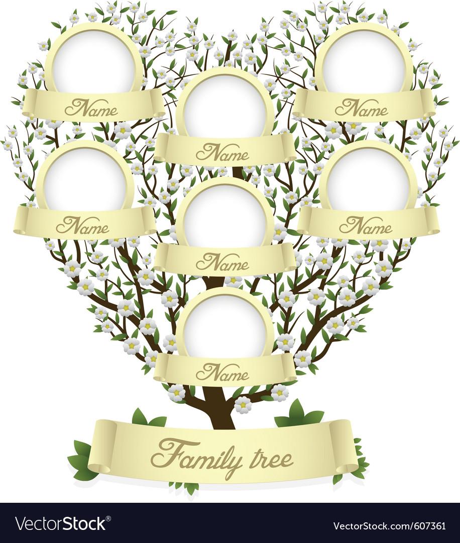 Family tree in heart shape vector