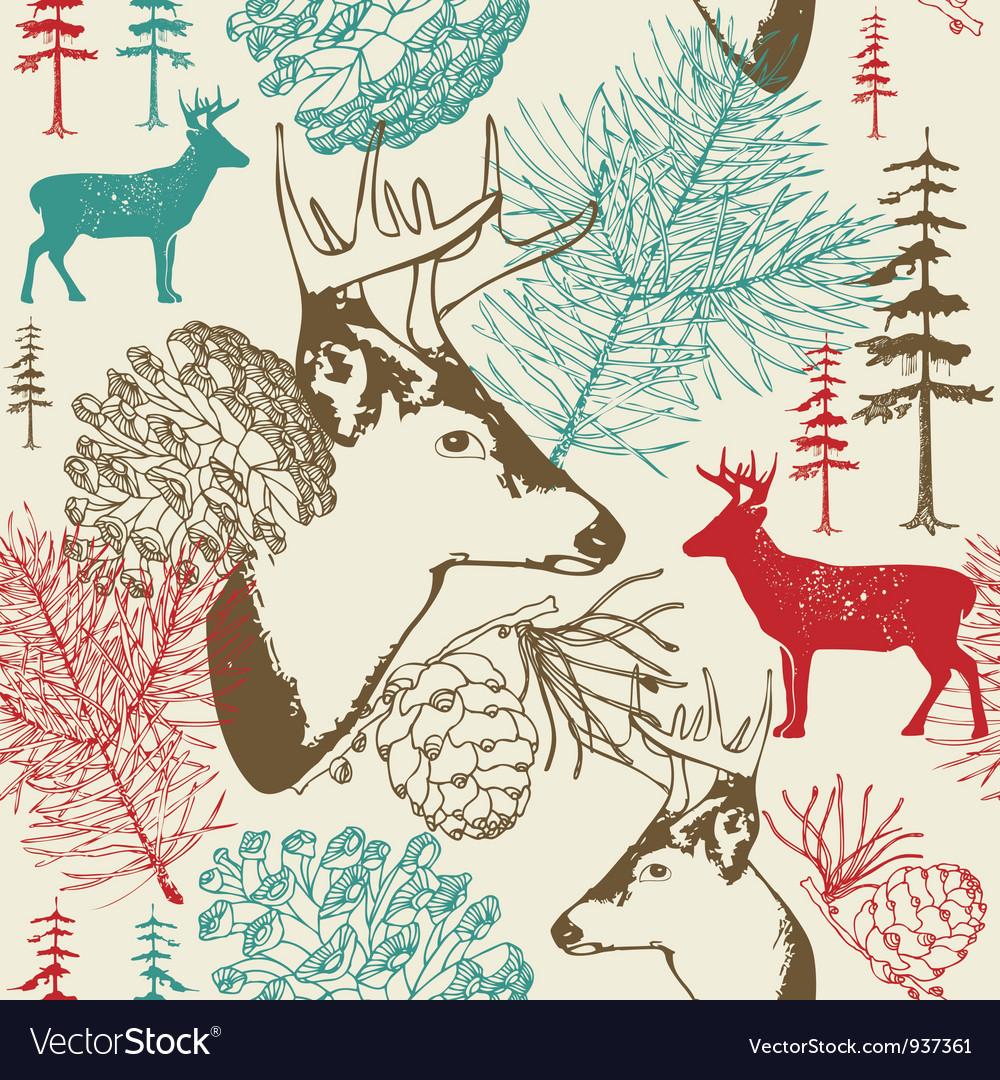 Retro forest deer pattern vector