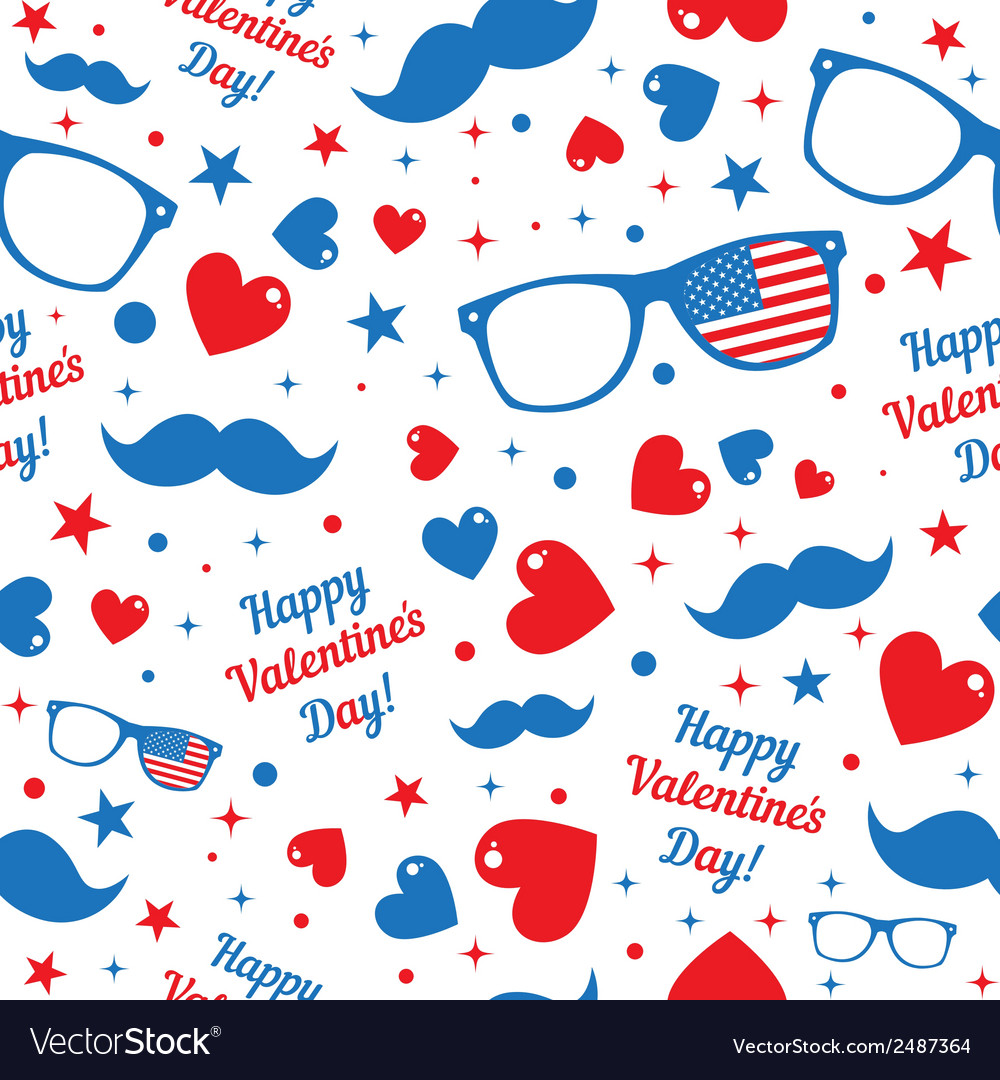 Valentines day hipsters symbols with the american vector