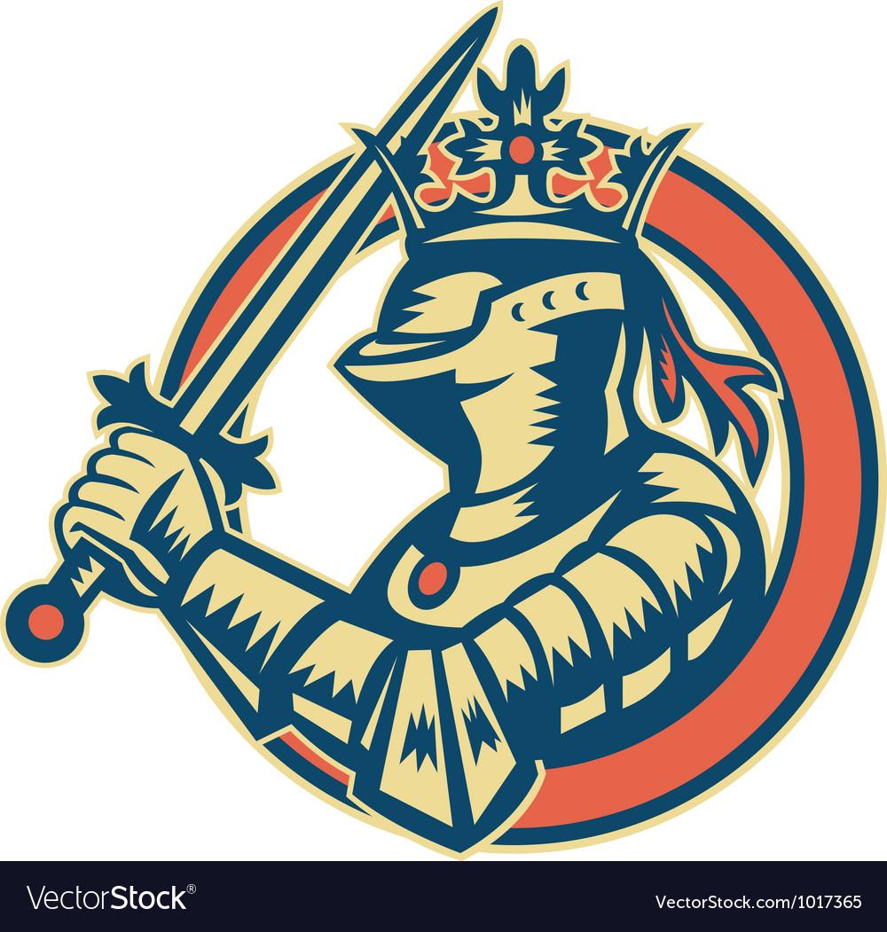 Knight full armor with sword retro vector
