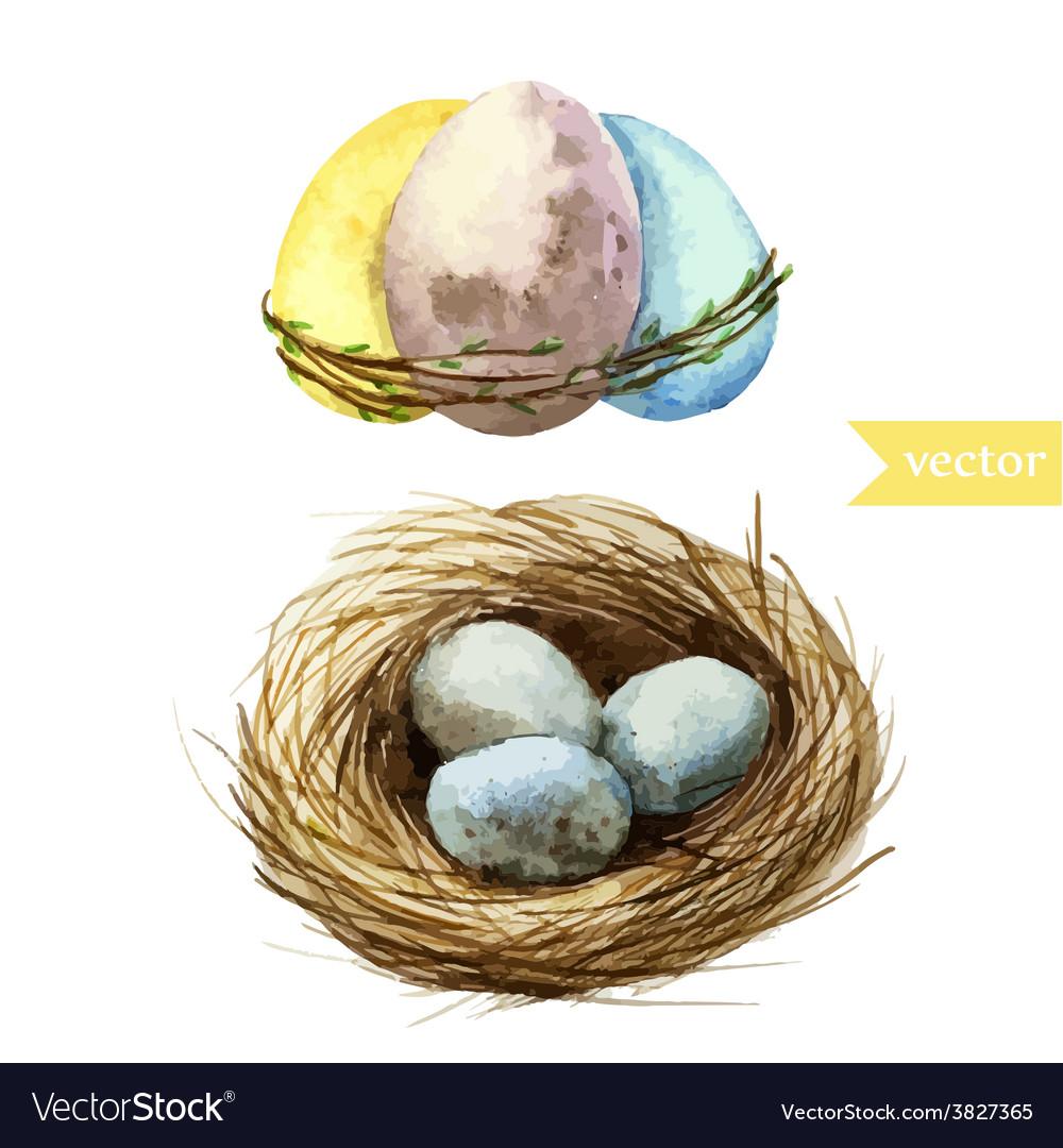 Watercolor egg set easter vector