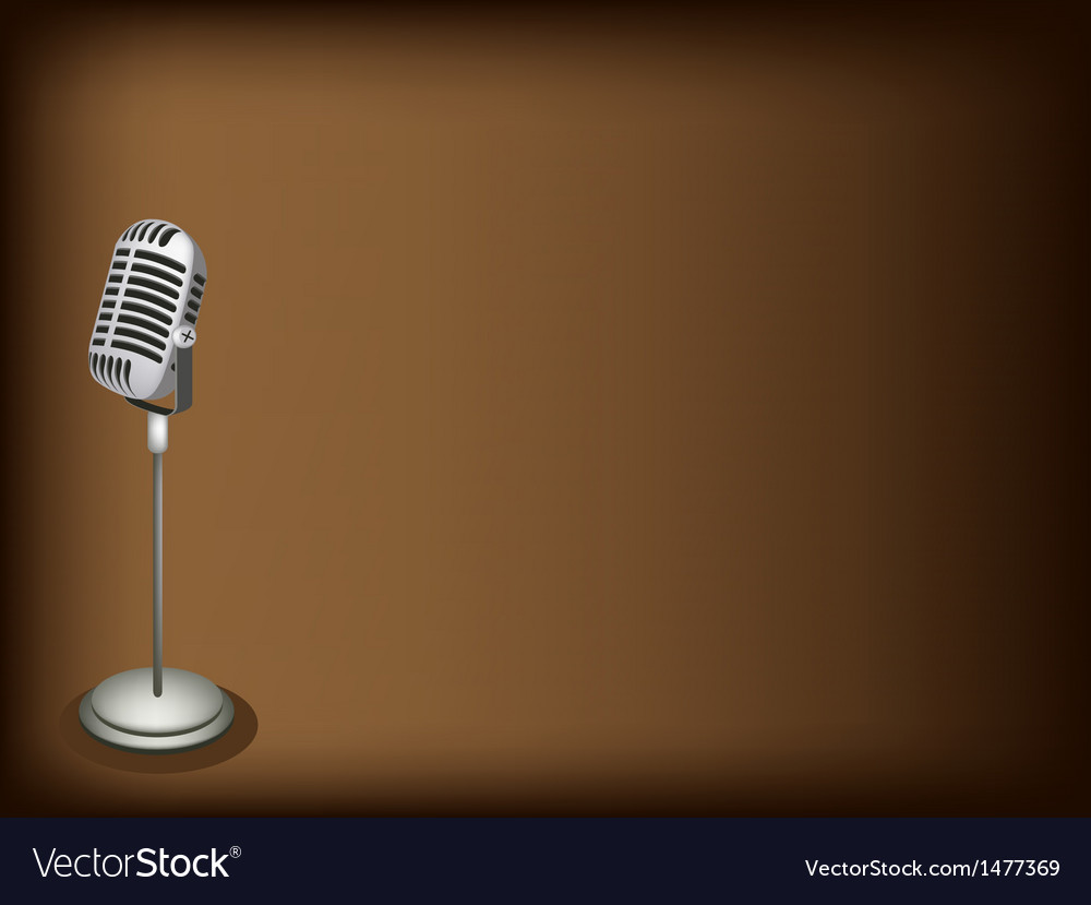 Retro microphone brown background vector