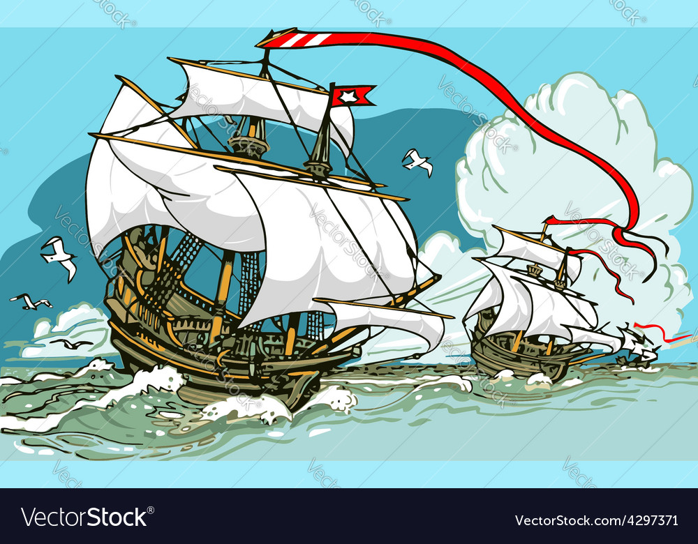 Great discoveries - three galleons sailing vector