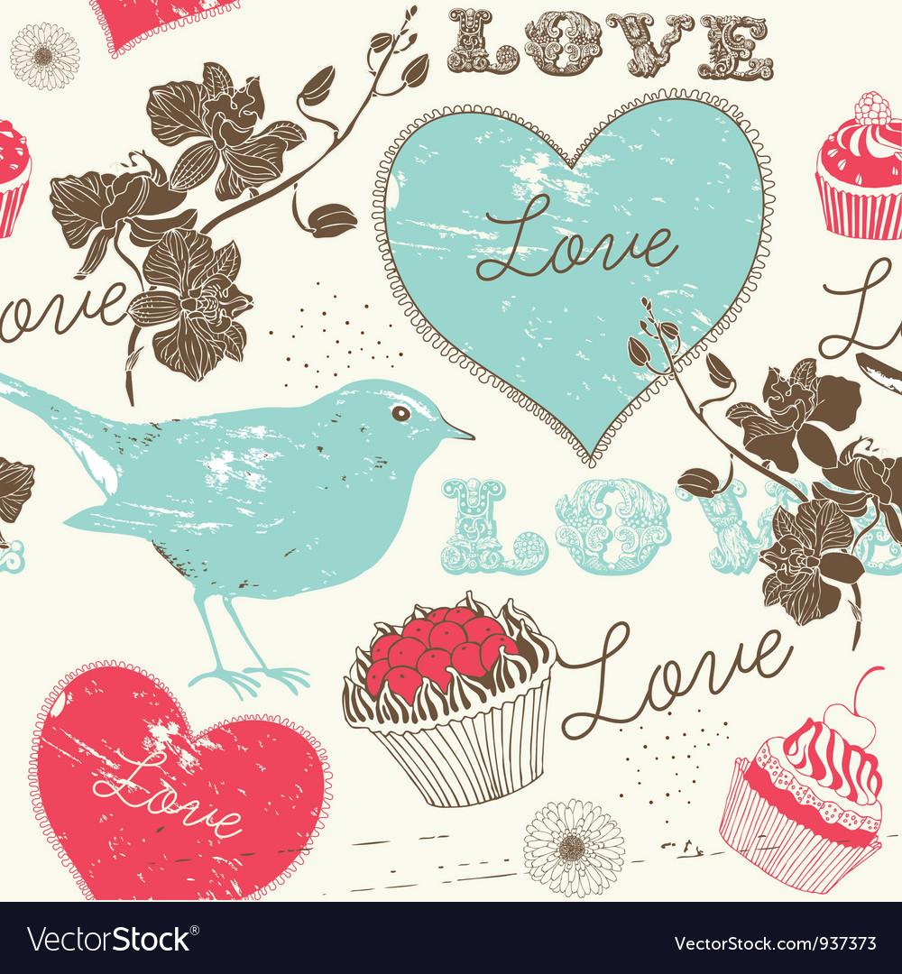 Vintage love background vector