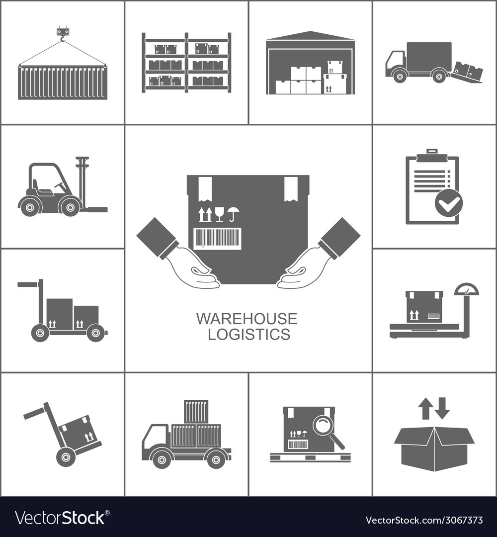 Warehouse icons black vector