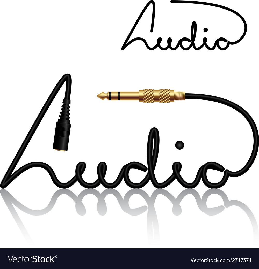 Jack connectors audio calligraphy vector