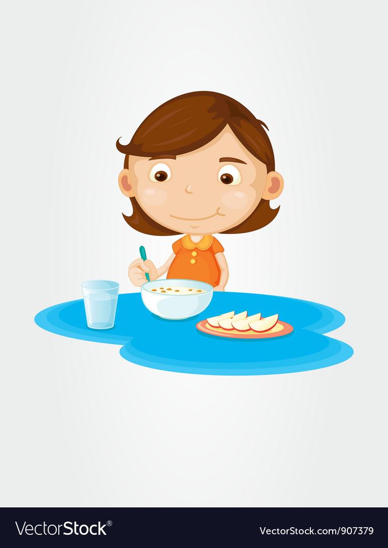 Girl eating breakfast vector