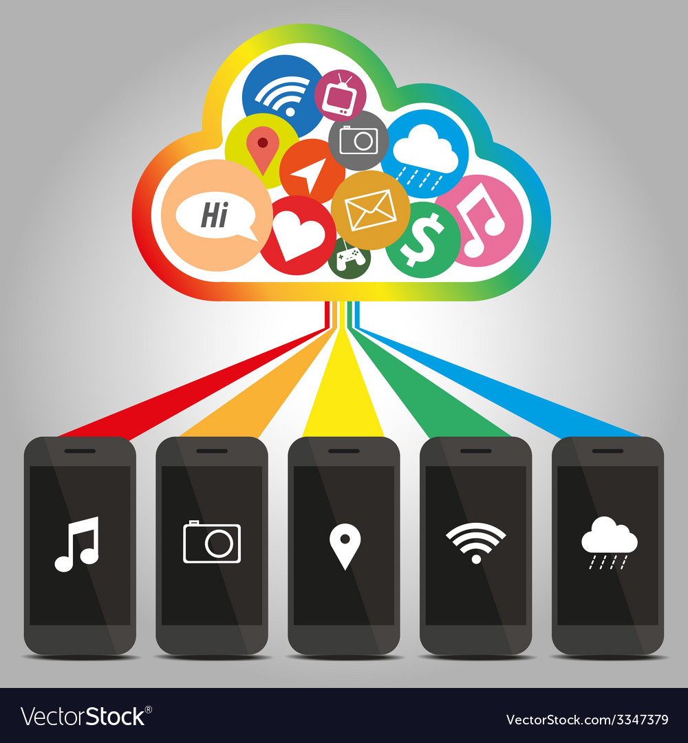 Technology of smart phone with cloud concept vector
