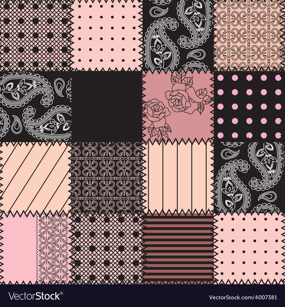 Pink patchwork with lace vector