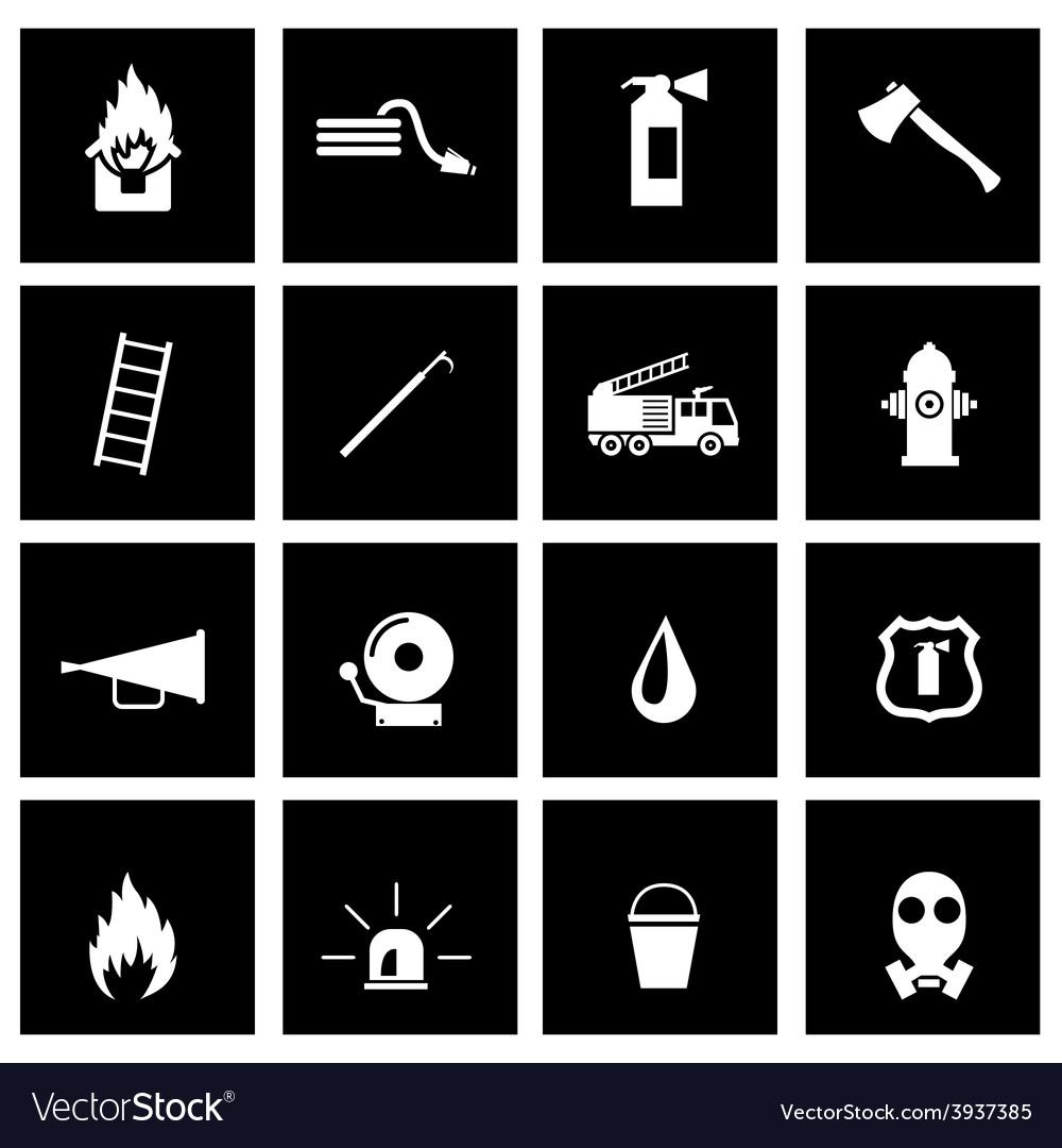 Black firefighter icon set vector