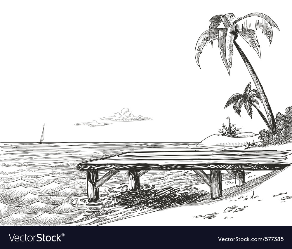 Tropical beach sketch vector