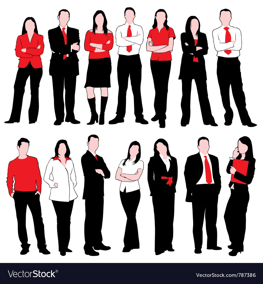 Business people silhouettes set vector