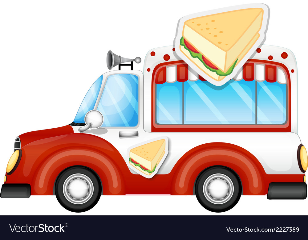 A vehicle selling sandwiches vector