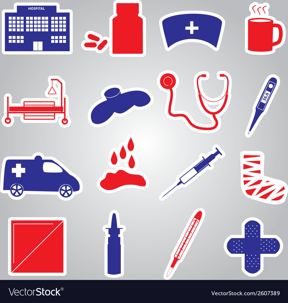 Hospital and sick stickers eps10 vector