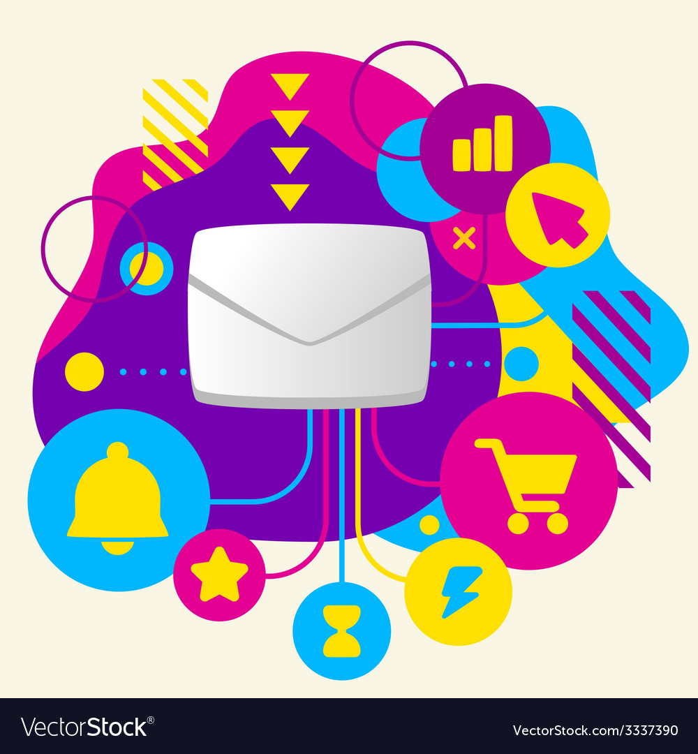 Envelope on abstract colorful spotted background vector