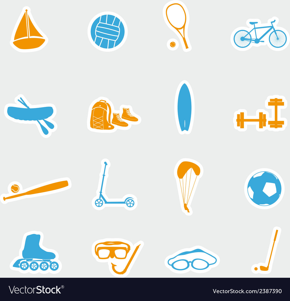 Summer sports and equipment stickers eps10 vector