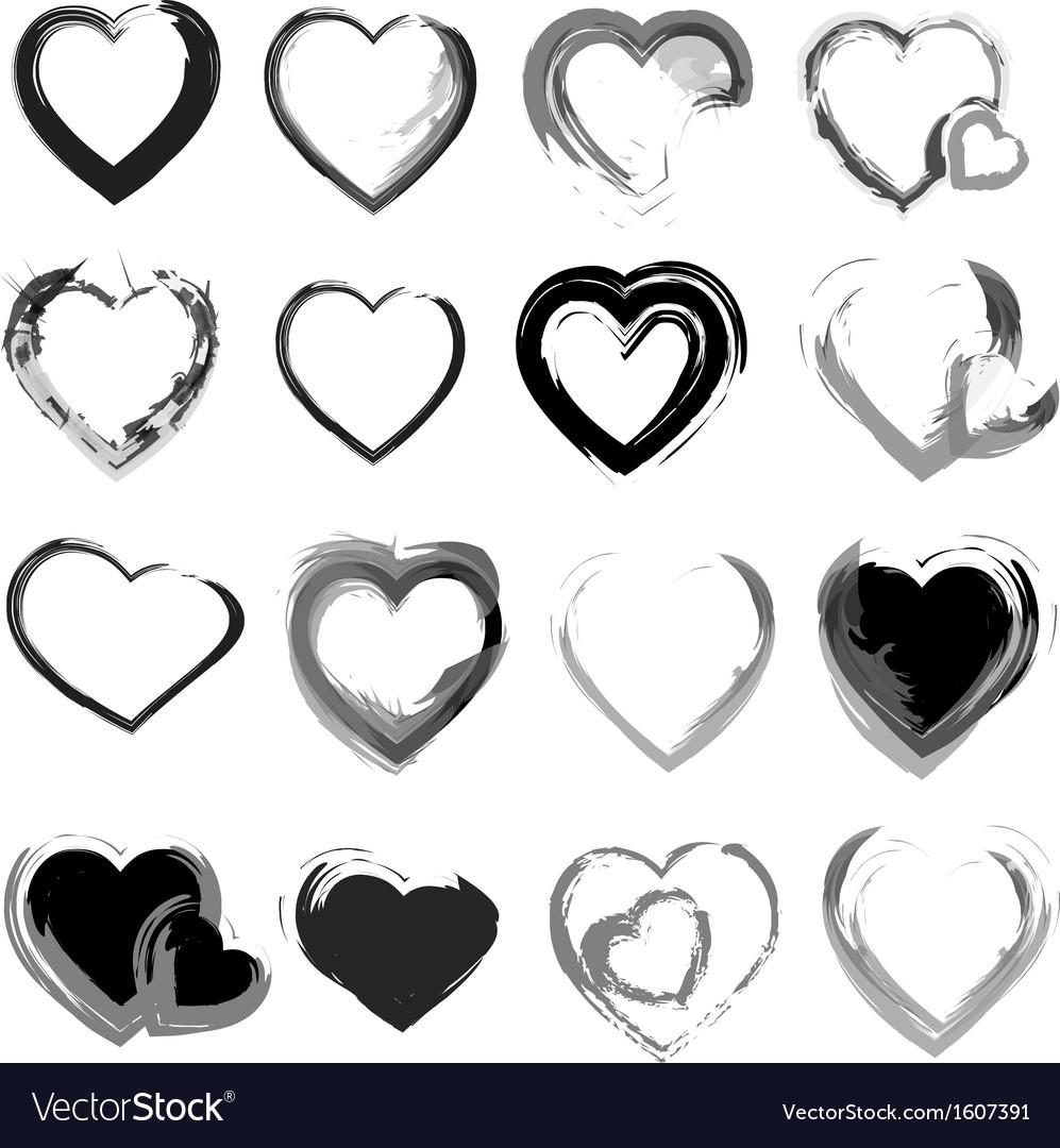 Grunge hearts background vector