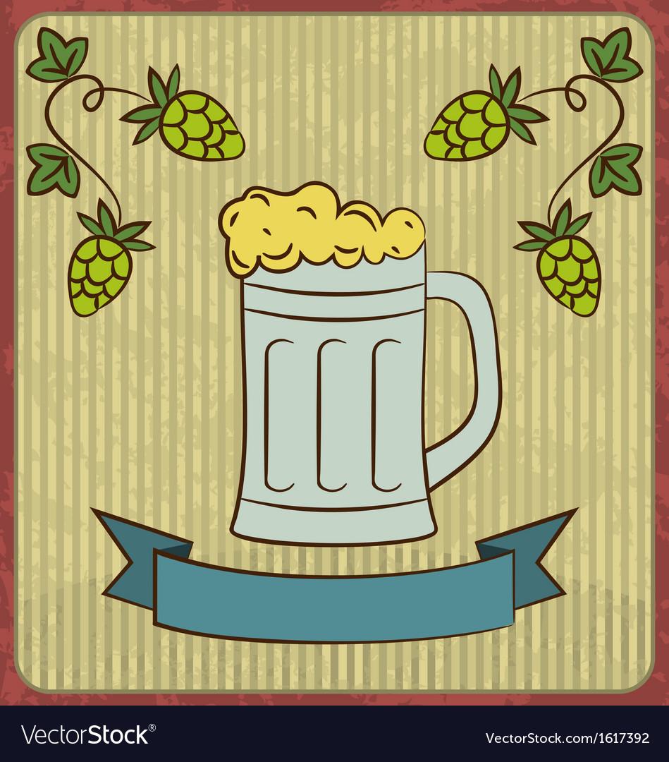 Vintage card with glass mug beer vector