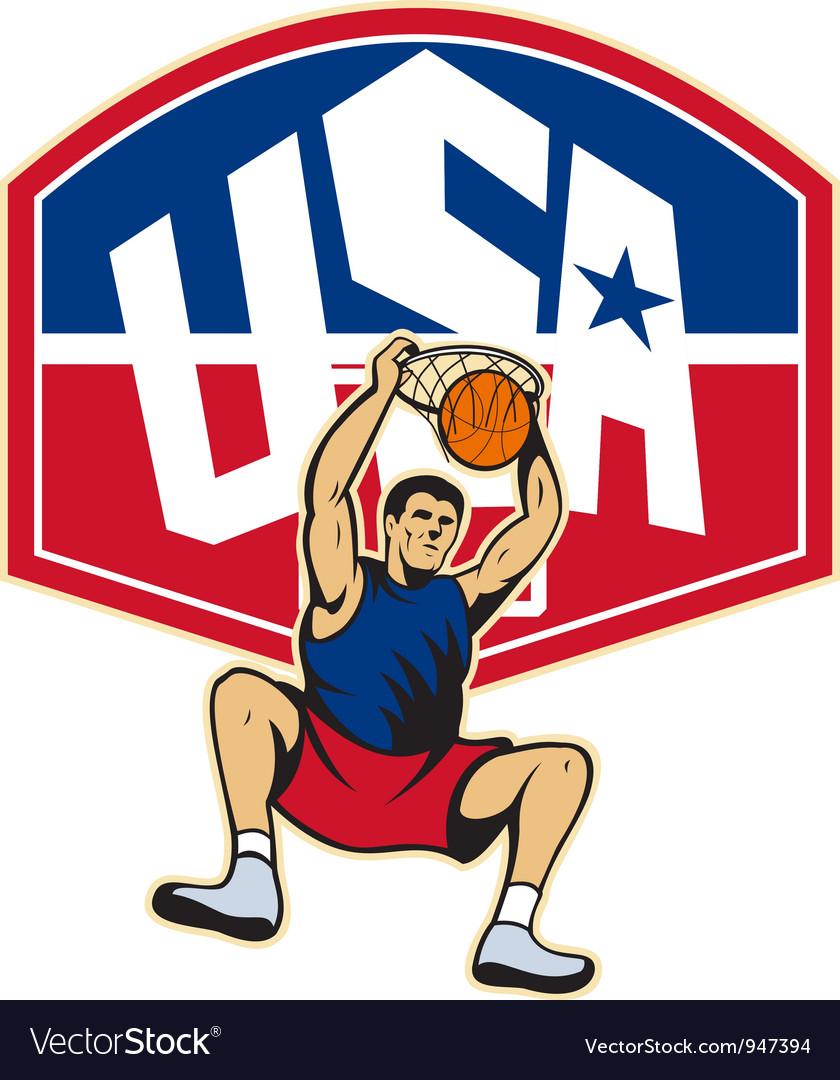 Basketball player dunking ball usa vector