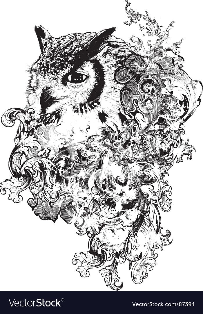 Floral owl vector