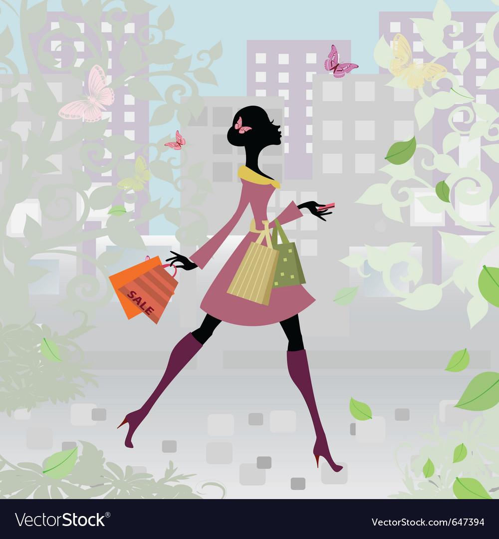 Romantic city shopping girl vector