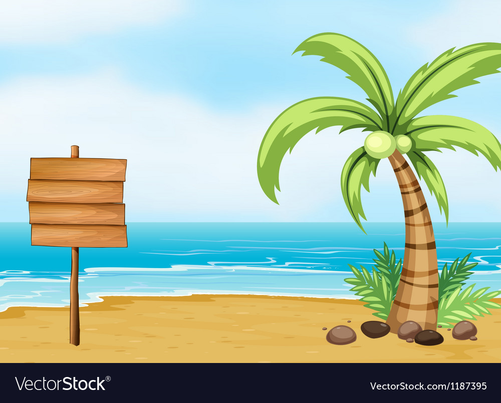 A coconut tree and an empty board at the beach vector