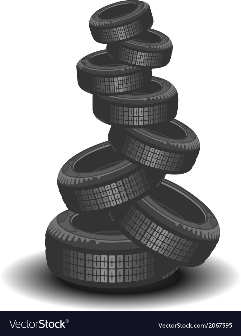 Brand new tires on white background vector