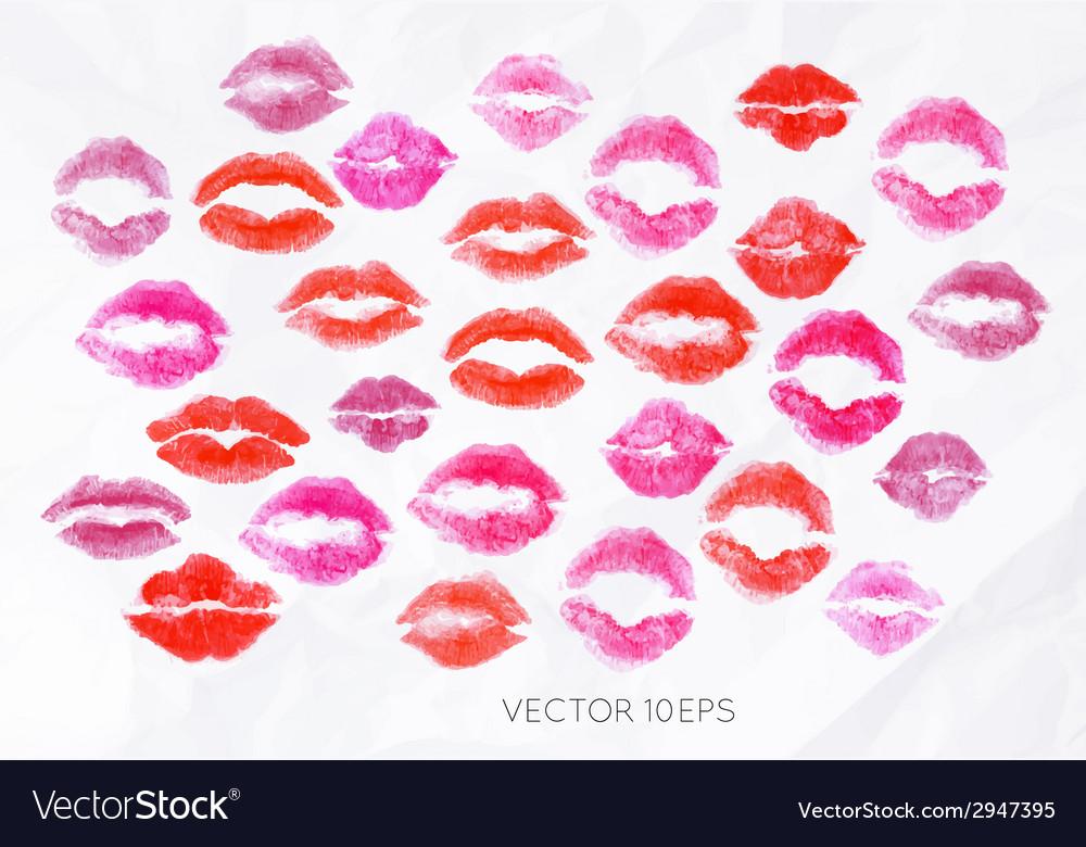 Set lipstick kiss vector