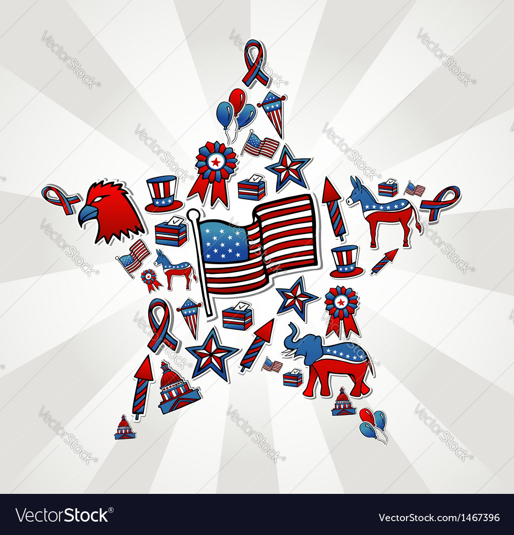 Usa elections icon set in star vector