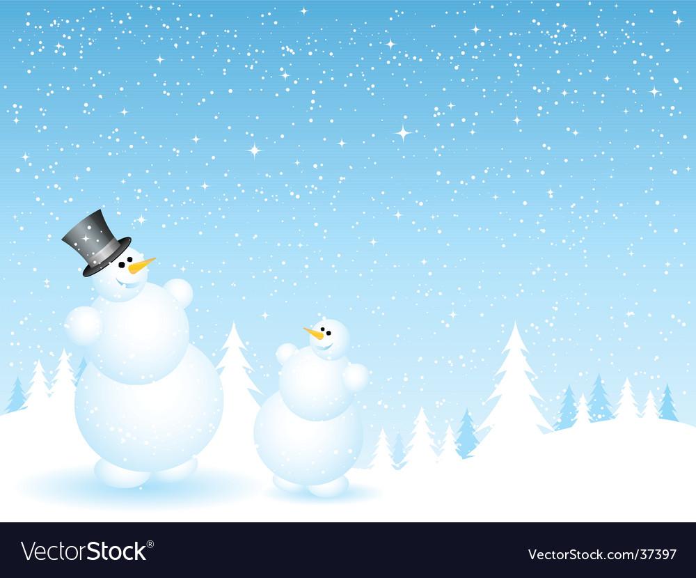 Father and son snowmen vector