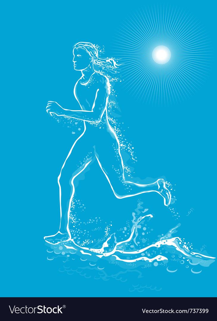 Female runner on water vector